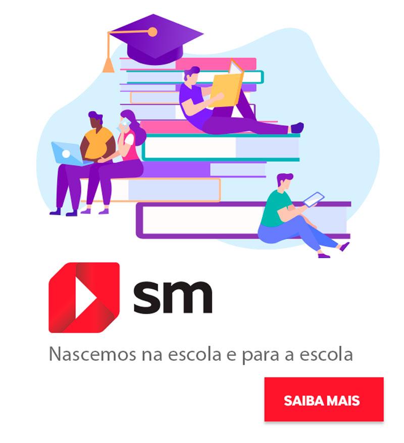 Ilustração de pessoas sentadas em uma pilha de livros, logo da SM Educação, dizeres