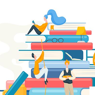 Ilustração de uma pilha de livros, com allguns jovems lendo livros.